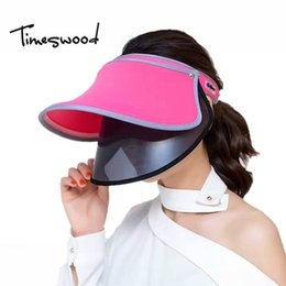 2020 sombreros rosados de la playa de las mujeres Viajes sombreros de Sun visera del verano [] TIMESWOOD de la Mujer Caps rosa salvaje Playa Azul Rojo Color de protección solar UV Sunhat 2017 Moda Mujer sombreros rosados de la playa de las mujeres baratos
