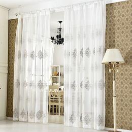 Ventana gris online-Alta calidad de lino bordado cortina dormitorio ventana tul gasa gris gasa cortinas para sala de estar cortina terminada