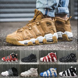 Wholesale Flax Medium - (With box) Air more flax Tri-Color Uptempo QS Olympic Bulls UNC Triple Black Mens Basketball Shoes Airs 3M Scottie Pippen Casual Sneakers