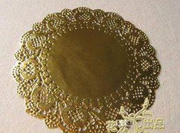 Wholesale Craft Christmas Stockings - Wholesale New 6.5'' 165mm Gold Round Paper Lace Doilies Placemat Craft Wedding Christmas Tableware Decoration