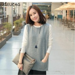 Wholesale Ms Sections - FRSEUCAG New spring and autumn sets of cashmere knitting vest Ms. Pullover round neck Sleeveless Short section Selling coat