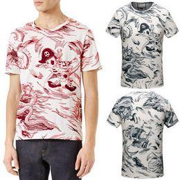 Wholesale T Shirts Designs For Men - Men's Printed Animal Sea Storm Print T-shirt 2018 Popular Design S S Casual Tee For Man