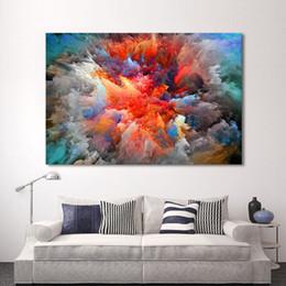 wolken kunst moderne malerei Rabatt Moderne Abstrakte Leinwand Kunst Malerei Bunte Wolken Wandbilder Für Wohnzimmer Wohnkultur Rahmenlose