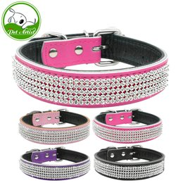 Wholesale Large Purple Rhinestones - Full Rhinestone Bling Crystal PU Leather Diamante Pet Dog Cat Collars For Small Medium Breeds Black Pink S M L