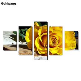 Wholesale Yellow Oil Paint Canvas - (No Frame)5 Panel Beautiful yellow roses oil painting on canvas flowers Wall Art Picture Home Decoration Modular wall paintings