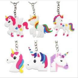 Wholesale Theme Ring - 100pcs  Lot Unicorn Keychain Horse Key Ring Holder Pendant For Unicorn Party Theme Decoration Kid Birthday Party Favor Supplie