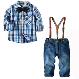 2e166d050d9 Cool Baby Boy Clothes Set 2 Pieces Plaid Long Sleeve Shirt with Bow Tie and Jeans  Pants with Suspenders Gentleman Set