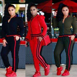 Wholesale Mid Autumn Lanterns - Women's casual fashion spring and autumn long-sleeved multicolor two-piece jogging suit ladies lantern sleeves sportswear suit S-3XL
