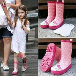 botas de lluvia zapatos de lluvia Rebajas Bota de lluvia del PVC del envío gratis para niños con Hello Kitty Pisos de tacones claros Zapatos de agua para niños Rainboot Martin Botas de lluvia para niñas Bota impermeable