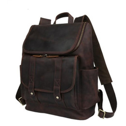 Wholesale Leather Backpack Camping - Fashion Large Capacity Genuine Leather Men Outdoor Travel Backpack Duffel Bag Business Laptop Luggage Bag Handbag