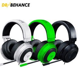 Wholesale White Ps4 - Best Quality 3.5mm Razer Kraken Pro Gaming Headset with Wire control headphones in BOX for IOS Android PS4 Xbox earphone without package
