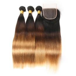 Peruanisches Menschenhaar von Ombre mit Verschluss 3 Tone 1B / 4/27 Glatte Haarwebart 3 Bundles mit Verschluss von Fabrikanten
