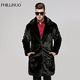 Wholesale Mink Overcoat - FHILLINUO Men fur coat imitation fur mink coats long sleeve men turn collar clothing overcoat outerwear faux mink jacket