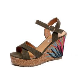 Новые сандалии женские Вышитые водонепроницаемые открытые туфли на платформе sandalias mujer 2018 Клин толстой коры на высоком каблуке женские сандалии от