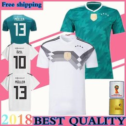 Wholesale Germany National - 2018 world cup MULLER Germany Soccer Jersey 19 Deutschland national team Home white away green OZIL KROOS HUMMELS SANE GOTZE football shirt