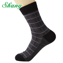 Wholesale Water Socks Men - BAMBOO WATER SHANG Men cotton socks men's pure cotton socks men's elite breathable Grid style FM-4