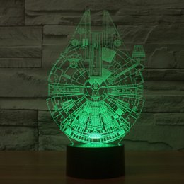 Wholesale Ufo Models - Spacecraft 3D Stereoscopic Light Illusion new LED Decorative Night Light Touch Remote Planet UFO Model Toy