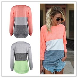 Wholesale Hit Bottom - Women's Fashion Leisure Comfortable and Loose Bottoming Shirt Motion Stitching Hit Color Long Sleeve Set Head Sweater
