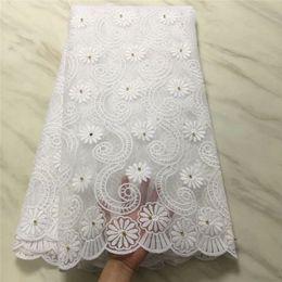 tecido de laço de tule francês branco Desconto Laços brancos Tecido de Renda Africano Tecido de Tule Francês Nigeriano 2019 de Alta Qualidade Tecido de Renda Frisado Africano