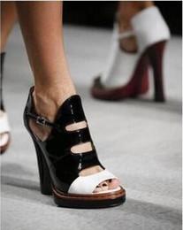 Wholesale Ladies Wedding Slipper Shoes - ladies women pump thick heels sandals cutout open toe shoes women black red peath high heeled women weeding shoes slipper slip on high heels