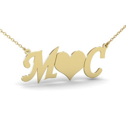 Wholesale handmade bridal necklaces - Bridal Jewelry Gold Silver Color Personalized Custom Initial Pendant Necklace Personalized Heart Name Necklace Women Handmade