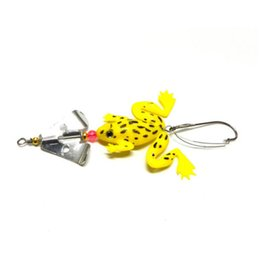 spinner bait bass fishing lure Promo Codes - Wholesale 4pcs Lot Frog Soft Fishing Lures Crank Bait Bass Spinner Sinking 9cm 16 inch High Quality