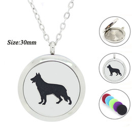 Wholesale 316 stainless steel magnetic lockets - Chain as Gift! Fashion Magnetic 25MM 30MM Aromatherapy Necklace Diffuser Hollow dog 316 Stainless Steel Essential Perfume Locket