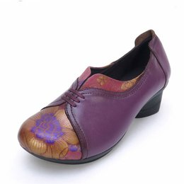 Wholesale Purple Vintage High Heel Shoes - Spring And Autumn High Heels Women Shoes Woman Vintage Soft Single Thick Heel Shoes Handmade Women Pumps