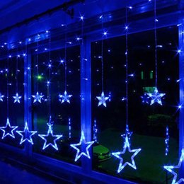 star lights window Coupons - 12 Stars 138 LED Curtain String Lights Waterproof Linkable Window Curtain Lights with 8 Flashing Modes for Christmas Wedding Party Home