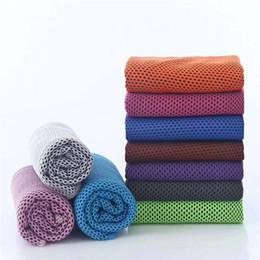 Ледяное полотенце охлаждения летний солнечный удар спортивные упражнения прохладный быстрый сухой мягкий дышащий охлаждения полотенце ткани двойные слои 11 цветов от Поставщики красные атласные платья из кружева