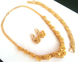 Wholesale Real 24k Gold Earrings - arring bracelet set Noble 24k real Fine gold GF butterfly necklace pendant earring bracelet sets Unconditional Lifetime Replacement Guar...