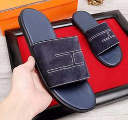 Wholesale h shoes men - Luxury Brand H Men cow leather open toe wading sandals Outdoor summer beach flip-flop slippers Flat leather flipflops upstream shoe,38-45