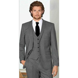 best quality suits for men Promo Codes - High Quality Men Suit Set Slim Fit For Wedding Business ( Jacket+Pants+Vest) Mens Groom Best Man Bridegroom Tuxedos Regular 2018
