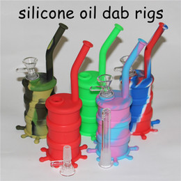 "rig removable mouthpiece Promo Codes - silicone oil dab rig Removable Silicon Bong Glass Bongs Height 8.26"" Silicone Water Bong Joint 14mm silicone mouthpiece for glass bong DHL"