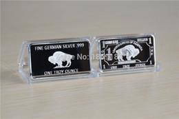 Livraison gratuite en gros 10pcs / lot 1 Troy-Once allemand Buffalo silver pièces Bull Bar, German Sliver .999 American Buffalo bar ? partir de fabricateur