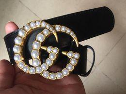 2019 cinghie perle Vendita calda big pearl fibbia modelli cinture donna Jeans cinture Donna Cinture metalliche con dimensioni 105cm-125cm come regalo 8178 sconti cinghie perle