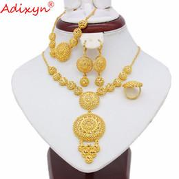 Adixyn Ethiopian Round Jewelry Set Couleur Or Collier / Boucle d'oreille / Bracelet / Bague Africaine / Erythrée / Inde Femmes Cadeau N05083 ? partir de fabricateur