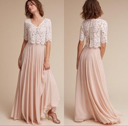 Wholesale Country Evening Dresses - Elegant Dusty Pink Two Pieces Country Long Bridesmaid Dresses 2018 Short Sleeves Lace Applique Long Evening Party Prom