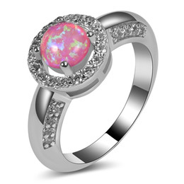 Wholesale White Fancy Tops - Pink Opal White Crystal Ring 925 Sterling Silver Top Quality Fancy Jewelry Wedding Ring Size 5 6 7 8 9 10 11 A214