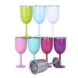 Wholesale vacuum clamping - 2018 Wine Glasses 9 colors 10oz 304 Stainless Steel Goblet Vacuum Double layer thermo cup Drinkware Wine Glasses Red Wine Mugs