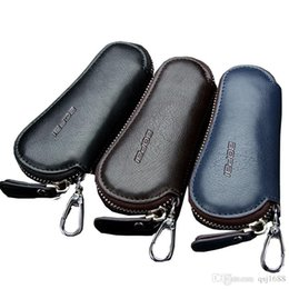 Wholesale Key Case Cover Leather - Genuine Leather Car Key Wallets Men Key Holder Housekeeper Keys Organizer Women Keychain Covers Zipper Key Case Bag Pouch Purse