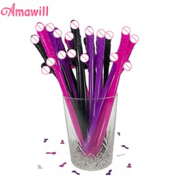 wholesale plastic penis Promo Codes - Amawill 20pcs Funny Sexy Willy Drinking Straw Penis Plastic Straws for Hen Night Party Supplies Bachelorette Party Decoration 6D