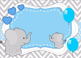Sfondi di cuore online-7x5FT Grigio Zig Zag Chevron Little Elephant Love Heart Baby Shower Personalizzato Photo Studio Sfondo Sfondo in vinile 220cm x 150cm