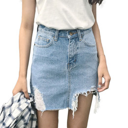 Wholesale Women Mini Jeans Skirt - 2017 Summer Pencil Skirt High Waist Ripped Jeans Women Skirts Denim Jupe Mini Saia Short Skirt Large Size Women's Faldas C3350