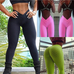 Calças de bandagem on-line-2018 V Bandagem Mulheres Ginásio Estiramento Esporte Cintura Alta Calças de Yoga Levantar O Quadril de Fitness Esporte Leggings Thigts Calças de Treino de Corrida