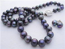 """Wholesale Blue Moonstone Earrings - 8-9mm Natural Black Akoya Cultured Pearl Necklace Earrings 18"""" Hand Knotted"""