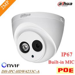 dahua 2mp ip camera Desconto Original POE Dahua 2mp IP Câmera IPC-HDW4233C-A IP67 À Prova D 'Água Ao Ar Livre Microfone Onvif Distância IR 50 m DH-IPC-HDW4233C-A