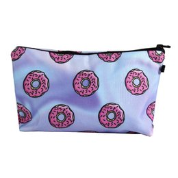Wholesale Donuts Bag - 3D Printing Cosmetics bags Love Donuts cactus flower Make up Storage Bag For Women Girl