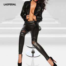Wholesale Pu Leather Xxl Women - LASPERAL Faux Leather Pants Women Elastic Zipper Leather Pants Trousers 2017 Women Zipper Pantalones PU Skinny Pencil XXL