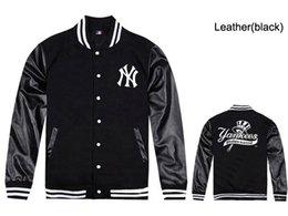 Wholesale Orange Leather Jackets - Free shipping 2018 spring & autumn menswear Hot sales man fashion yankee jacket hoody leather sleeved Baseball Jacket wholesale